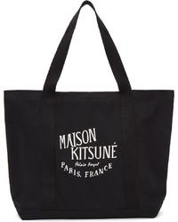 MAISON KITSUNÉ Black Palais Royal Shopping Tote
