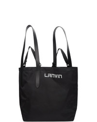 Lanvin Black Satin Twisted Shopper Tote