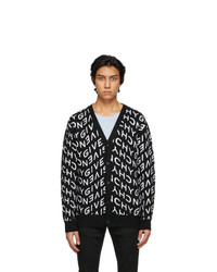 Givenchy Black And White Refracted Logo Cardigan