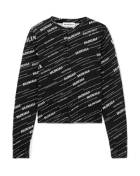 Balenciaga Intarsia Wool Blend Cardigan