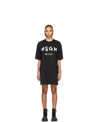 MSGM Black Artist Logo T Shirt Dress