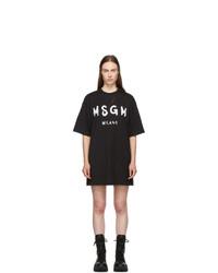 MSGM Black Paint Brushed Logo T Shirt Dress