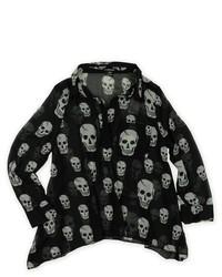 Ecko Unltd. Skull Ggt Top Sheer Wrap Blouse Black M