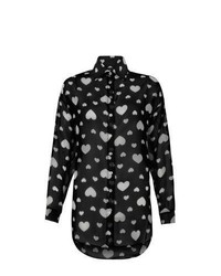 Exclusives New Look John Zack Black Oversized Heart Print Chiffon Blouse