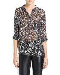 Outlet bicolor print chiffon blouse medium 127234