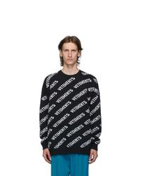 Vetements Black Allover Logo Crewneck Sweater