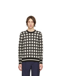 Moncler Black And White Jacquard Bell Sweater
