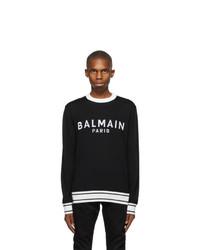 Balmain Black And White Wool Logo Sweater