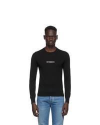 Vetements Black Merino Logo Crewneck Sweater