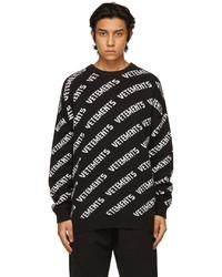 Vetements Black White All Over Logo Sweater