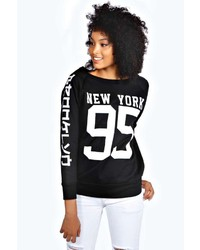 Boohoo Keira New York Print Sweatshirt