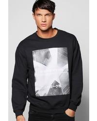 Boohoo Front And Sleeve Print Sweatshirt