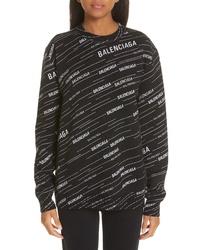 Balenciaga Logo Jacquard Wool Blend Sweater