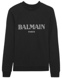 Balmain Printed Cotton Jersey Sweatshirt Black