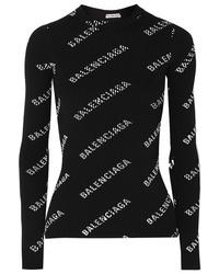 Balenciaga Printed Ribbed Knit Top