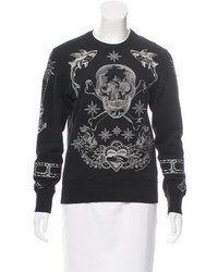 Alexander McQueen Skull Embroidered Long Sleeve Sweatshirt