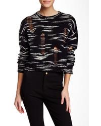 Cynthia Rowley Space Dye Cropped Wool Blend Sweater
