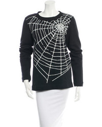 Love Moschino Spider Web Printed Pullover Sweatshirt