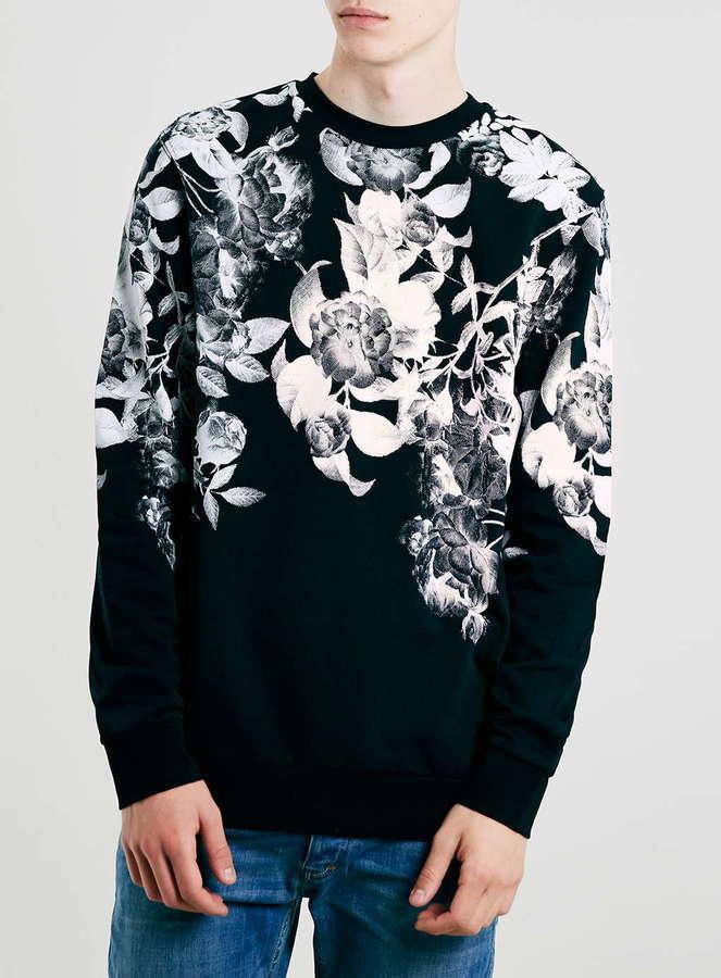 Topman Monochrome Floral Print Sweatshirt   Where to buy & how to wear