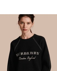 Burberry Topstitch Detail Wool Cashmere Blend Sweatshirt