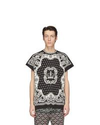 Dolce and Gabbana Black And Off White Bandana T Shirt