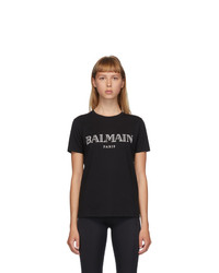 Balmain Black And White Logo T Shirt