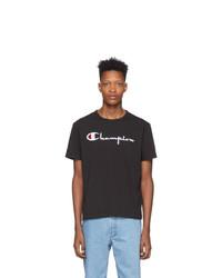 Champion Reverse Weave Black Big Script Logo T Shirt