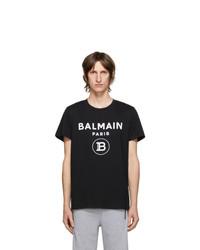 Balmain Black Flocked Logo T Shirt