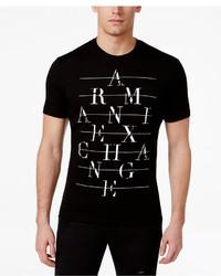 Armani Exchange Black Graphic Print Logo Cotton T Shirt