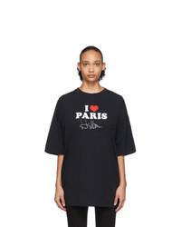 Vetements Black I Love Paris T Shirt