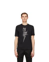 Neil Barrett Black Scribble Bolt T Shirt