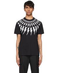 Neil Barrett Black White Scribble Fair Isle Thunderbolt T Shirt