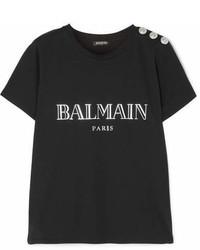 Balmain Button Embellished Printed Cotton Jersey T Shirt Black