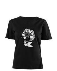 CafePress.com Koi White Print V Neck Dark T Shirt