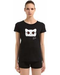 Karl Lagerfeld Choupette Printed Cotton Jersey T Shirt