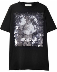 Valentino Embellished Printed Cotton Jersey T Shirt Black