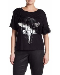 Good Luck Gem Lace Graphic Print Tee
