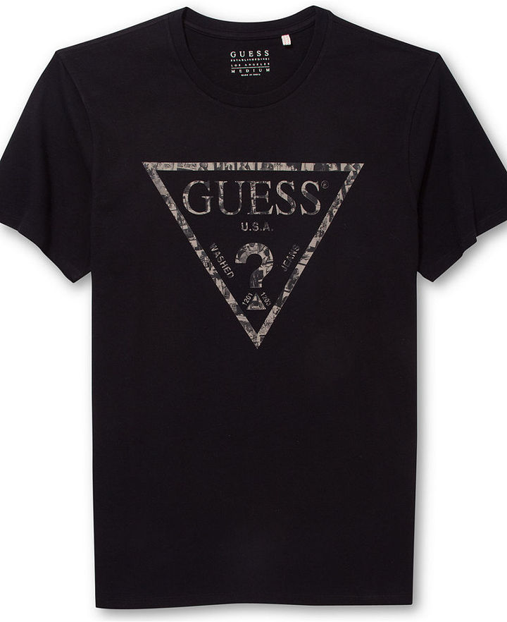 Black and White Print Crew-neck T-shirt: GUESS Crew Neck ...