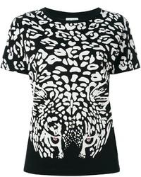 Saint Laurent Leopard Print T Shirt