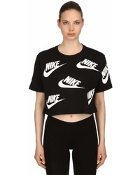 Nike Logo Print Cotton Jersey Cropped T Shirt