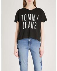 Tommy Jeans Logo Print Cotton Jersey T Shirt