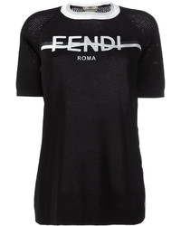 Fendi Logo Print T Shirt