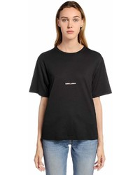 Saint Laurent Logo Printed Cotton Jersey T Shirt