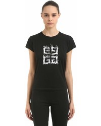 Givenchy Logo Printed Cotton Jersey T Shirt