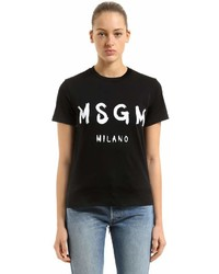 MSGM Logo Printed Cotton T Shirt