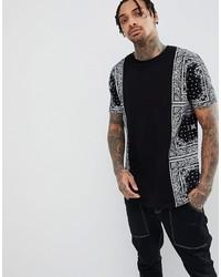 ASOS DESIGN Longline T Shirt With Bandana Panels And Curved Hem