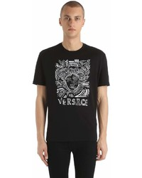 Versace Medusa Embroidered Cotton Jersey T Shirt
