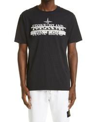 Stone Island Mixed Logo Slim Fit Cotton Graphic Tee