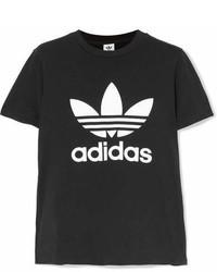 adidas Originals Trefoil Printed Stretch Cotton Jersey T Shirt Black