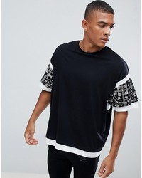 ASOS DESIGN Oversized T Shirt With Colour Block And Paisley Print